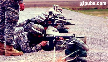 Soldiers at the shooting range for  a proficiency inspection