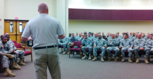 Mark Gerecht presenting to the Fort Sill NCO Academy