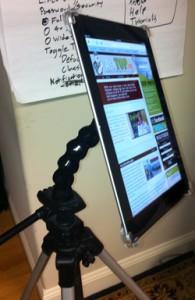 iPad mounted on a Caddie Buddy mount